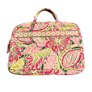 Vera Bradley Computer / Brief Case Pink Green Paisley Pockets Quilted