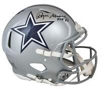 "Cowboys Roger Staubach ""HOF 85"" Signed SIlver Full Size Speed Proline Helmet BAS"