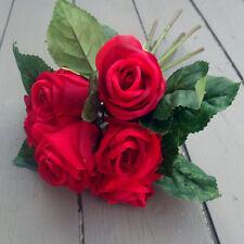 Artificial 7 Stem Red Rose Flower Bunch
