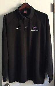 Nike FitDry Waukee Iowa High School Basketball Long Sleeve Collared Polo Mens XL