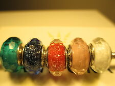 5 Pandora Silver 925 Ale Teal Shimmer Blue Pink Red White Shimmer Beads Charms