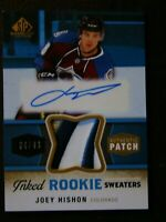 2014-15 UD SP GAME USED INKED ROOKIE SWEATERS JOEY HISHON SP PATCH 34/49