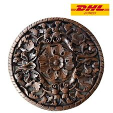 60cm Hanging Wood Pattern Carved Home Decoration Flower Wall Collectible Gift