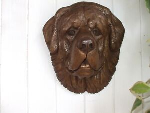 BIG BRONZED  STONE TIBETAN MASTIFF DOG  DOGS HEAD GARDEN  WALL SCULPTURE