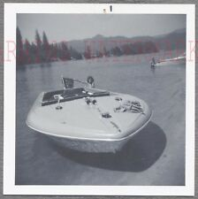 Vintage Photo Cute Girl w/ 1960s Water Ski Motor Boat 756329