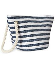 Macys Navy & White Striped Make Up Case Cosmetics Bag Wristlet .NWT