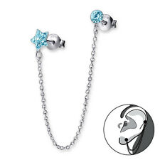 925 Sterling Silver Dangly Earring - Aqua Crystal Star & Round Double Stud Chain