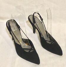 Vtg. 60's Women's Sling Back Suede Shoes White & Pastel Colors Sz. 7N