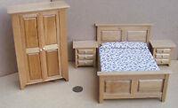 1:12 Scale 4 Piece Light Oak Wooden Bedroom Set Tumdee Dolls House Miniature 437