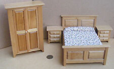 1:12th Scale Four Piece Light Oak Wooden Bedroom Set Dolls House Miniature 4437