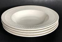 "Set of 4 Mikasa Italian Countryside 9.5"" Rimmed Soup Bowls DD900 White Stoneware"