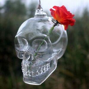 Hanging Transparent Glass Skull Vase Flower Pot Demon Home Decor Ball Scary Gift