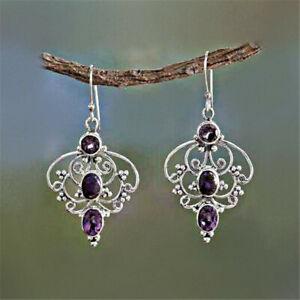 Elegant 925 Silver Drop Earrings for Women Amethyst Jewelry Gifts A Pair/set