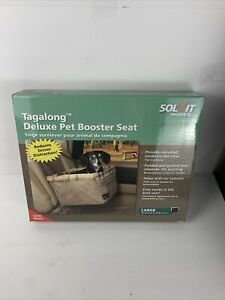 NEW Solvit Tagalong Quilted Pet Booster Seat Large 16 x 14 x 8 Tan Dog/Cat Seat