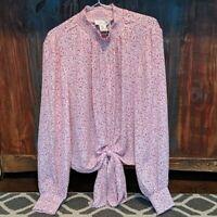 NWT! Rachel Zoe Pink Floral Mock Neck Tie Front Blouse - Medium