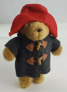 "Paddington Bear Plush Eden Gray Coat Red Hat Vintage  11"" Tall"