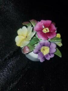 "Vintage AYNSLEY BONE CHINA BASKET/ POT OF FLOWERS -PANSIES   2""x2""x2"" ENGLAND"