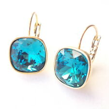 Indicolite Teal Blue Drop Earrings w/ 12mm Cushion Swarovski Crystal Prom Gift