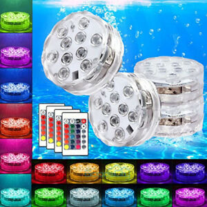 4x Waterproof Underwater Led Lights w/Remote for Swimming Pool Fountain Hot tube