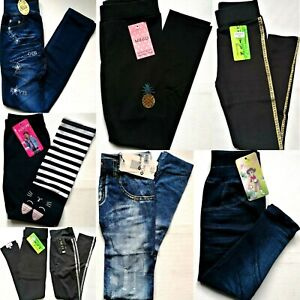 Mädchen Leggings Hose Kinder  Leggings Jeggings Jeans Optik.110-116,128,134--176
