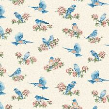 Fabric Blue Birds Dream Tossed on Cream Cotton 1 Yard