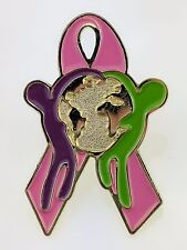 Pink Ribbon Pin Breast Cancer Awareness Hug Globe Lapel Hat Charity