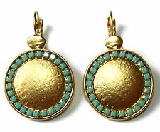 Designer Beautiful Yellow Gold 24K Plated Round Dangle Earrings Turquoise Stones