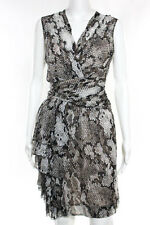Moschino Cheap And Chic Black White Brown Snake Pattern Dress Size Large