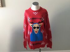 Christmas Reindeer Alex Stevens She Doesn't Ever Go Here Sweater New L Large Red