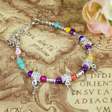 HOT Free shipping New Tibet silver multicolor jade turquoise bead bracelet S58
