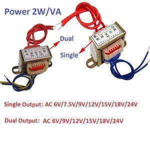 EI35 2W Power Transformer Input AC 220V 50Hz - Output AC Single/Dual 6V To 24V