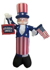 """6' Air Blown Inflatable Uncle Sam Holding Flag & """"God Bless America"""" Sign"""
