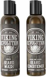 Viking Revolution Beard Wash & Conditioner Set w/Argan & Jojoba 5 Ounce