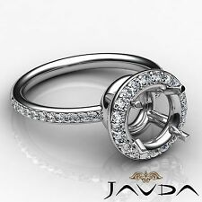 Round Cut Diamond Engagement Semi Mount Ring 14k White Gold Halo Pave Set 0.53Ct
