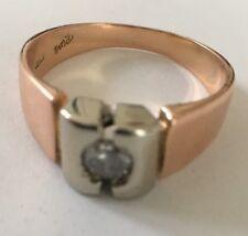 Men's 24K Rose Gold with 1/2 carat Dimond in Platinum Frame ring, size: 9.5