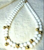 """VINTAGE Signed NAPIER White BEADED NECKLACE Gold Beads Double Strand 18"""""""