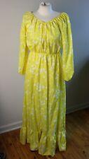 "Vtg Frances Brewster Yellow Floral Stripe Maxi Ruffle Hem Dress 42"" Bust"