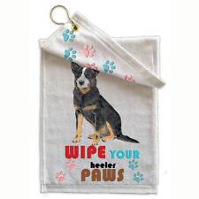 "Australian Cattle Dog Paw Wipe Towel 11"" x 18"" with brass hang hook"