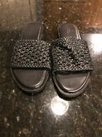 NEW URBAN OUTFITTERS Size 8 Black Leather Sandals Slip On