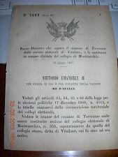 REGIO DECRETO 1877 SEPARA COMUNE TORRECUSO  DA VITULANO  SEZ  MONTESARCHIO