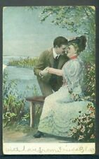 1908 Romantic Couple Kissing in the Park Vintage Postcard