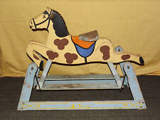 VINTAGE ANTIQUE RIDE ON WOOD ROCKING HORSE