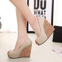Women Peep Toe Casual Wedge High Heels Colorblock Pumps Slip On Platform Shoes
