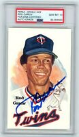 ROD CAREW SIGNED HOF PEREZ STEELE Postcard GEM MINT 10 PSA/DNA TWINS ANGELS