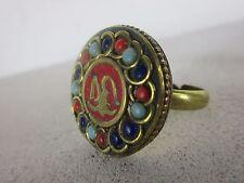 alter Ring Messing mit alten Glasperlen und Buddha Amulett Tibet  ~1970 +- 2 cm
