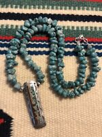 """#994 Vintage Navajo Turquoise Coral Chip Inlay Pendant, 20"""" Turquoise Necklace"""