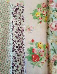 Fabric remnants Floral fabric x 4 large pieces bundle craftroom clearout