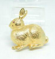 Pink Rhinestone Eye Rabbit Textured Gold Tone Animal Pin Brooch Vintage