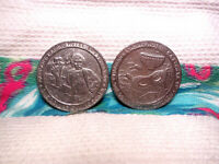 HARRAH'S LAUGHLIN CASINO GAMING TOKENS ~ 2 TOKENS MARK TWAIN & MARDI GRAS ~ 1992