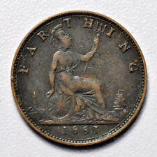 GB VICTORIA 'BUN HEAD' FARTHING 1881 ++ SHARP GRADE!! ++ [938-16]